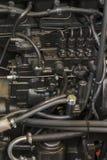 Nouveau moteur tracteur diesel agricole moderne Nouveau moteur de pointe moderne de chargeur ou de petit tracteur Vue supérieure  photo libre de droits