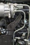 Nouveau moteur tracteur diesel agricole moderne Nouveau moteur de pointe moderne de chargeur ou de petit tracteur Vue sup?rieure  photo libre de droits