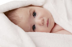 Nouveau-né dans l'essuie-main Images libres de droits