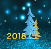 Nouveau 2018 An neuf heureux 2018 nombres sur le fond bleu Images libres de droits