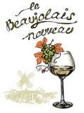 Nouveau nouveau Beaujolais de vin avec le texte français Photos stock