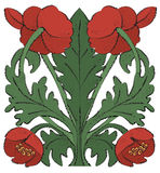 Nouveau Poppies. Vector art in Illustrator 8. Red poppies in an art nouveau style with a brush stroke outline Stock Photo