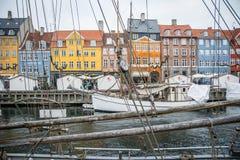 Nouveau port de Nyhavn Région populaire de Copenhague denmark photo libre de droits