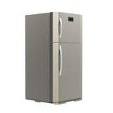 Nouveau réfrigérateur gris d'isolement sur le blanc Images stock