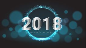 Nouveau rougeoyer brillant heureux de 2018 ans carte de voeux bleue et argentée Images stock