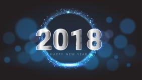 Nouveau rougeoyer brillant heureux de 2018 ans carte de voeux bleue et argentée Illustration de vecteur comme service de fond au  Photographie stock