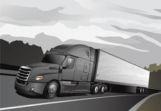 Nouveau semi Truck_Full-Grey illustration de vecteur
