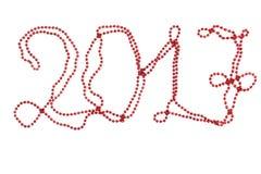 Nouveau Year& rouge x27 ; perles de s perle 2017 Nombres lumineux an neuf des textes Images libres de droits