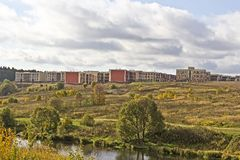 Nouveaux bâtiments dans la banlieue de Moscou Photo libre de droits