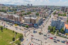 Nouveaux bâtiments de Pristina aériens image libre de droits