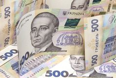 Nouveaux billets de banque de cinq cents hryvnias ukrainiens