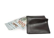 Nouveaux 100 billets de banque du dollar dans le portefeuille Photographie stock libre de droits