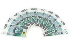 Nouveaux billets de banque polonais de 100 PLN Photos stock