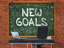 Nouveaux buts tirés par la main sur le tableau de bureau Photographie stock libre de droits