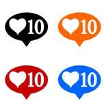 Nouveaux dix comme des icônes réglées illustration stock