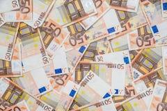 50 nouveaux et vieilles euro factures Photographie stock