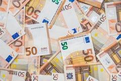50 nouveaux et vieilles euro factures Image libre de droits