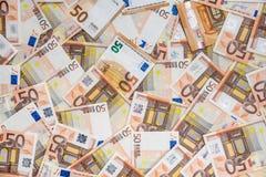 50 nouveaux et vieilles euro factures Images libres de droits