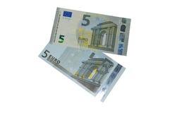 Nouveaux et vieux cinq euro billets de banque Images libres de droits