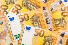 Nouveaux 50 euros comme fond Photos libres de droits