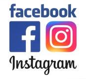 Nouveaux logos d'Instagram et de Facebook image stock