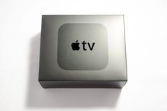 Nouveaux médias télévisés d'Apple coulant le microconsole de joueur Image libre de droits
