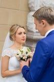 Nouveaux mariés à la séance photos de mariage dans le pays images stock