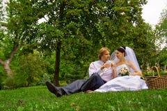 Nouveaux mariés buvant du vin Image stock