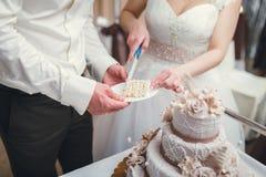 Nouveaux mariés coupant le gâteau de mariage Image stock