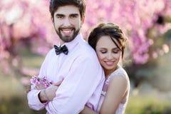 Nouveaux mariés dans le support d'amour sur la nature, dans la perspective des enjeux en bois, par temps ensoleillé Le marié élég photos stock