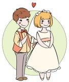 Nouveaux mariés de bande dessinée Photographie stock