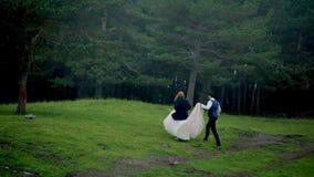 Nouveaux mariés de Photoshoot dans la forêt le processus fonctionnant Les nouveaux mariés changent l'emplacement banque de vidéos