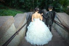 Nouveaux mariés descendant les escaliers en pierre Photographie stock libre de droits