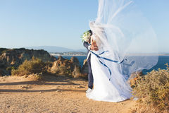 Nouveaux mariés embrassant sur la belle falaise contre le contexte de l'océan Photo libre de droits