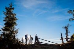 Nouveaux mariés heureux marchant avec l'équipement de montagne sur la campagne alpine Images stock