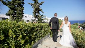 Nouveaux mariés heureux sur le fond d'un hôtel chic et de la mer leur jour du mariage La Grèce banque de vidéos