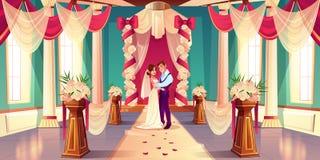 Nouveaux mariés sur le vecteur de bande dessinée de cérémonie l'épousant illustration de vecteur