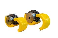 Nouvel accouplement à chaînes flexible pour la puissance de transmission dans des chaînes de rouleau de deux-brin de travail indu image libre de droits