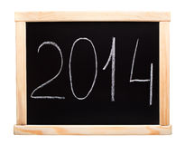 Nouvel 2014 ans écrits sur le tableau noir Photos libres de droits