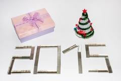 Nouvel 2015 ans heureux avec des agrafes Image stock