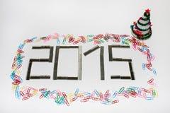 Nouvel 2015 ans heureux avec des agrafes Photo stock