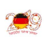Nouvel 2019 ans heureux avec le drapeau de l'Allemagne Vecteur de grunge de vacances Illustration de Vecteur