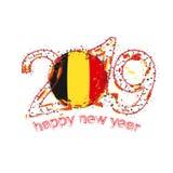 Nouvel 2019 ans heureux avec le drapeau de la Belgique Vecteur de grunge de vacances Illustration de Vecteur