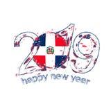 Nouvel 2019 ans heureux avec le drapeau de la République Dominicaine  Gru de vacances illustration stock