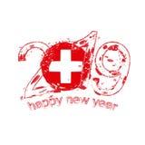 Nouvel 2019 ans heureux avec le drapeau de la Suisse Vec de grunge de vacances Illustration Libre de Droits