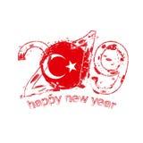 Nouvel 2019 ans heureux avec le drapeau de la Turquie Vecteur grunge i de vacances Illustration Stock