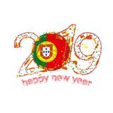 Nouvel 2019 ans heureux avec le drapeau du Portugal Vecteur de grunge de vacances Illustration de Vecteur
