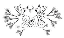 Nouvel 2016 ans heureux ! Conception de graphiques de vecteur Calibre de carte postale Fond de conception d'affiche Logo de Noël Image stock