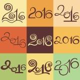 Nouvel 2016 ans heureux et Joyeux Noël Tiré par la main calligraphique Image libre de droits