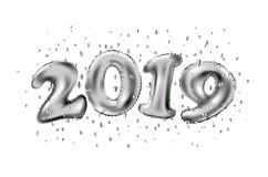 Nouvel 2019 ans heureux Illustration de vecteur de vacances des numéros métalliques argentés 2019 de ballon Signe 3d réaliste Aff illustration libre de droits